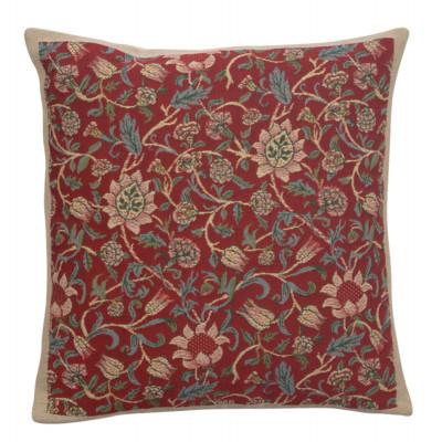 Подушка декоративная Флер (Уильям Моррис, красный)