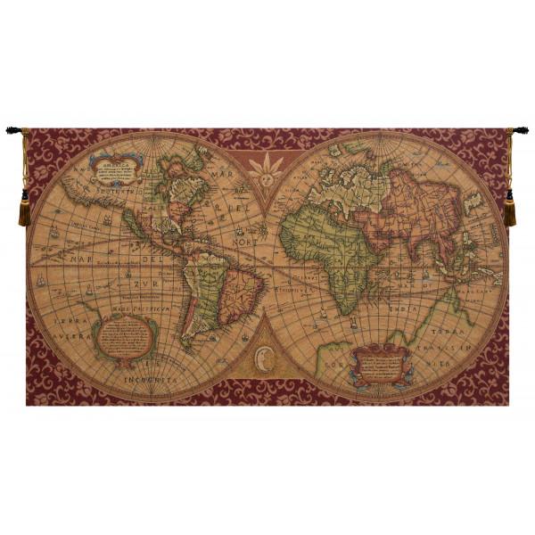 Купить Гобелен Старая карта мира (красный)