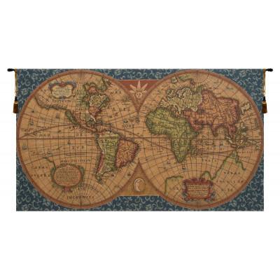 Гобелен Старая карта мира (голубой)