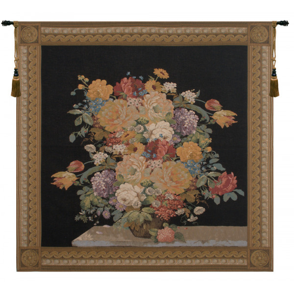 Купить Гобелен Элегантный цветочный шедевр черный