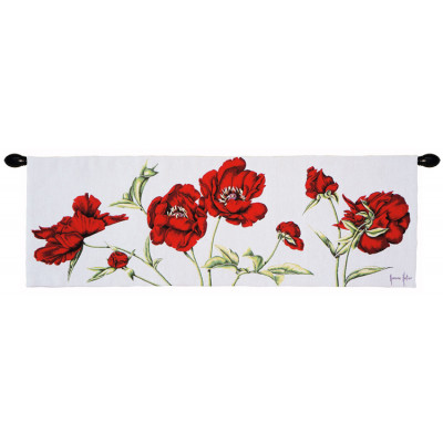 Гобелен Красные цветы на белом