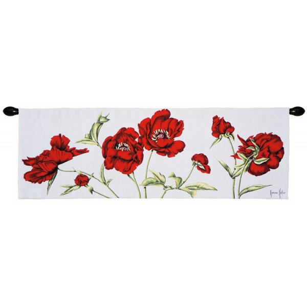 Купить Гобелен Красные цветы на белом