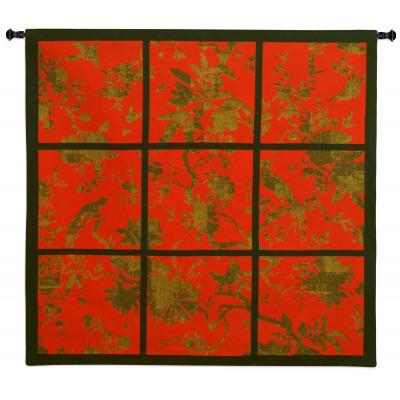 Купить Гобелен Цветочные квадраты (красный)