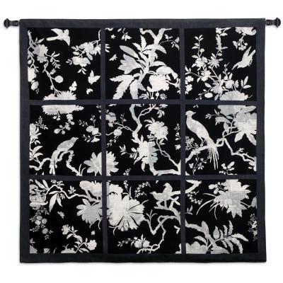 Гобелен Цветочные квадраты (черный)